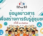 ข้อมูลข่าวสารเพื่อการรับรู้สู่ชุมชน ครั้งที่ 30/2563